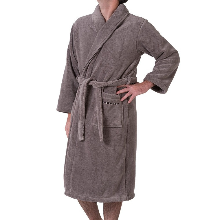 Robe de chambre homme taupe brodée