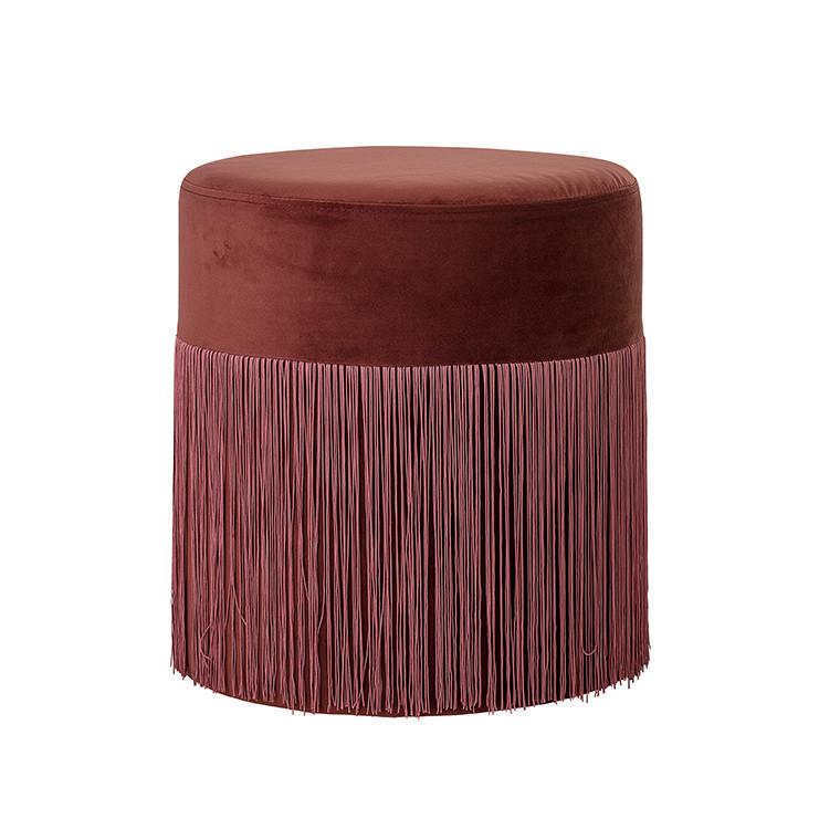 Pouf à franges en velours DECO ROSE
