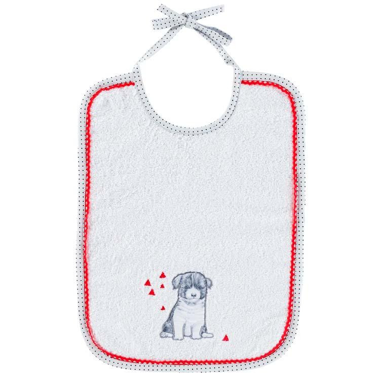 Bavoir coton chien Puppy blanc