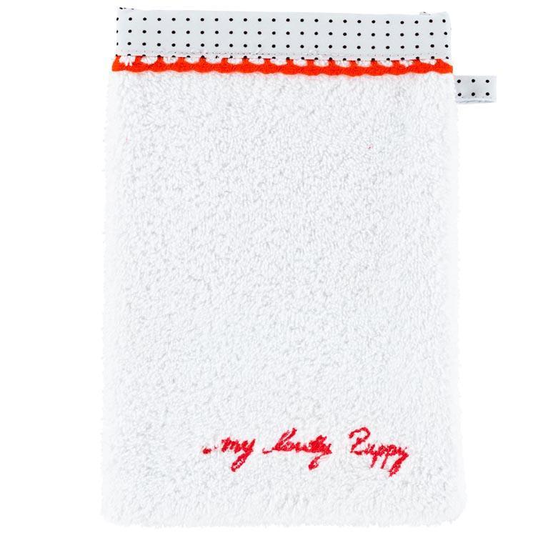 Gant de toilette coton chien Puppy blanc