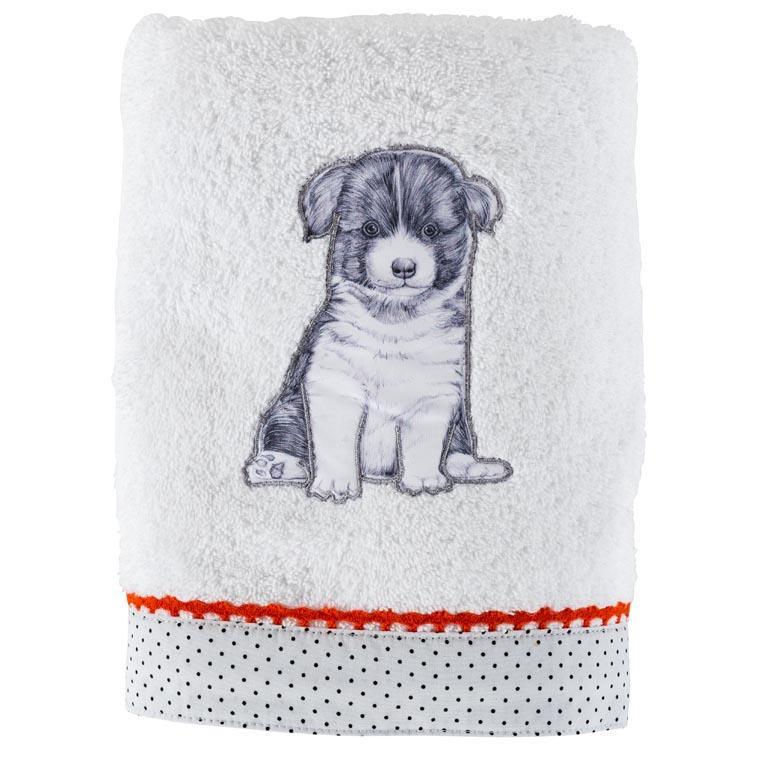 Serviette de toilette coton chien Puppy blanc
