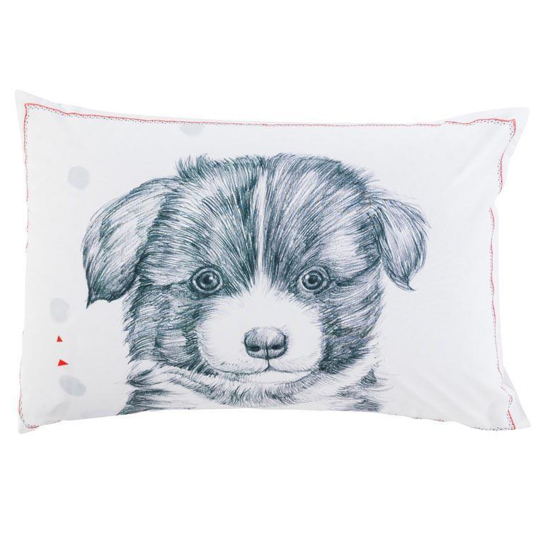 Taie d'oreiller rectangulaire coton imprimé chien Puppy