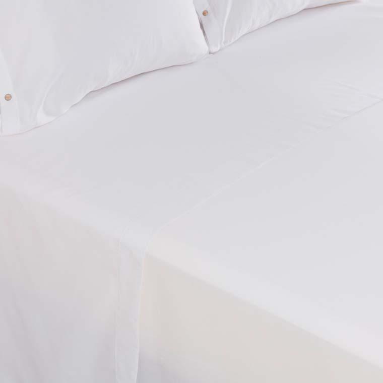 Drap de lit satin de coton lavé bio Quartz blanc