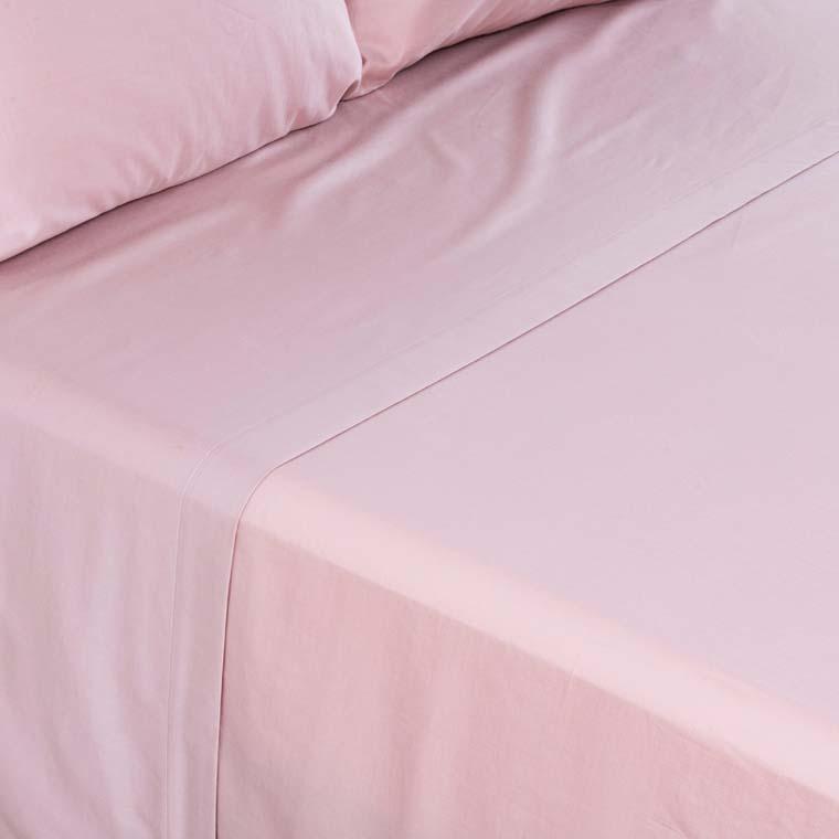 Drap de lit satin de coton lavé bio Quartz blush