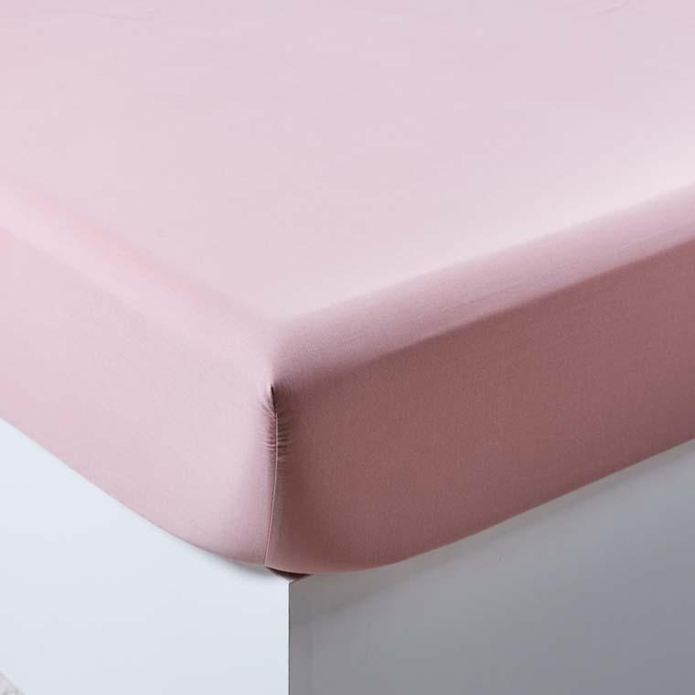 Drap housse satin de coton lavé bio Quartz blush