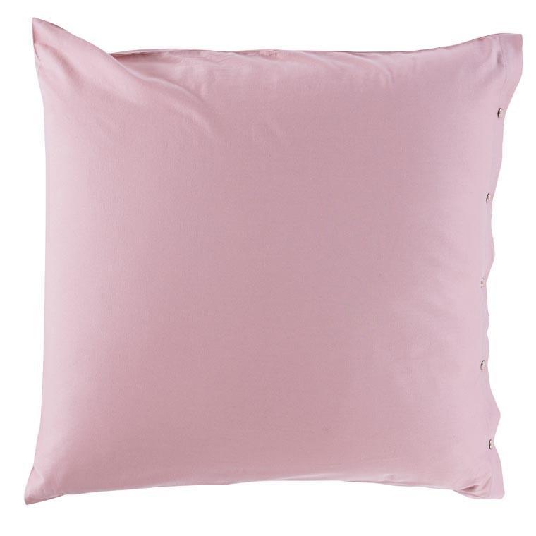 Taie d'oreiller carré satin de coton lavé bio Quartz blush