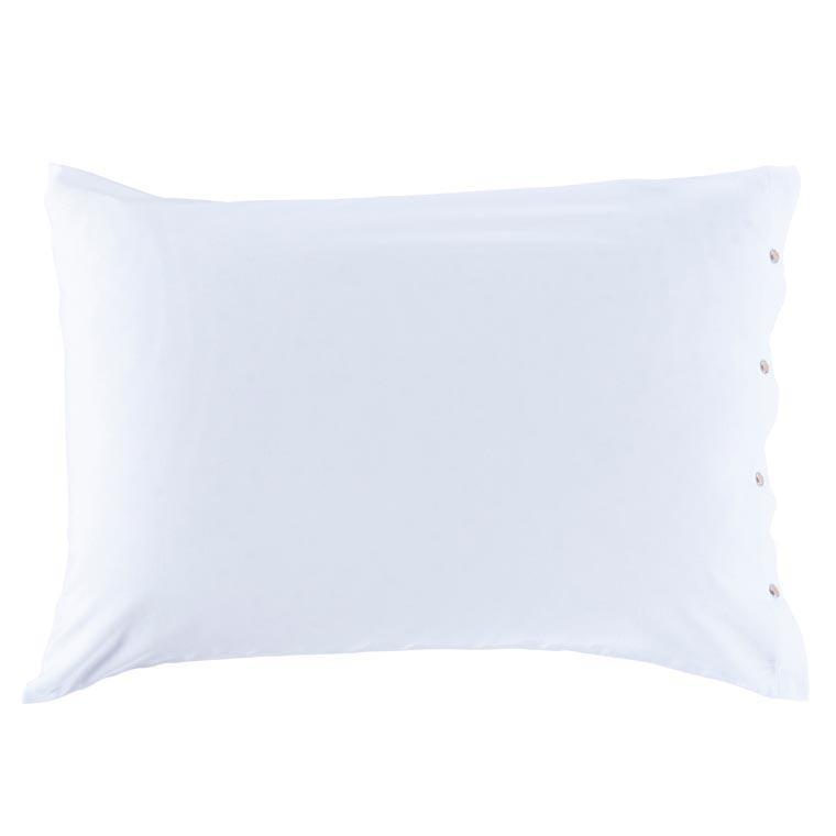 Taie d'oreiller rectangulaire satin de coton lavé bio Quartz blanc