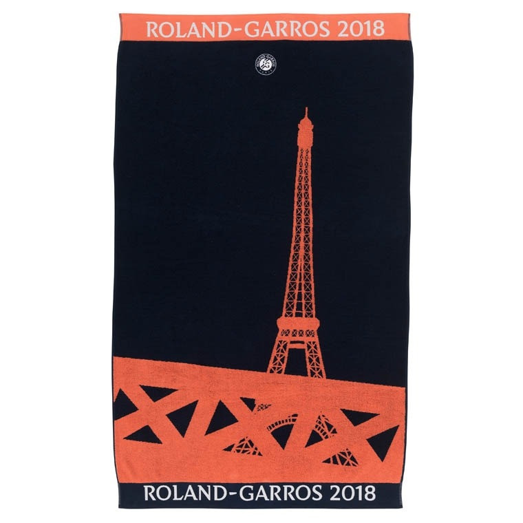 serviette de plage roland garros 2018 marine carre blanc. Black Bedroom Furniture Sets. Home Design Ideas