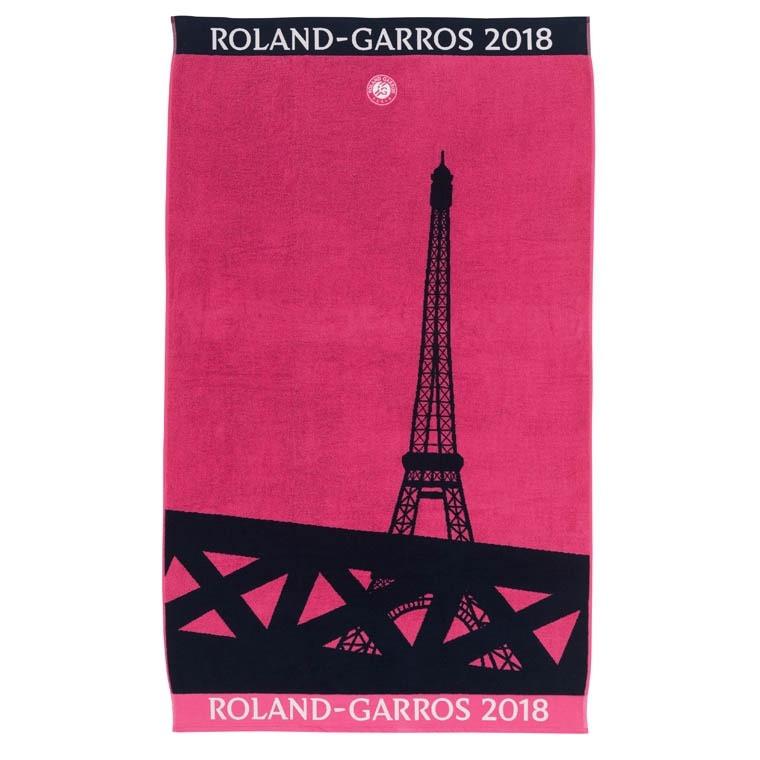Serviette de plage Roland Garros 2018 ROSE - CARRE BLANC