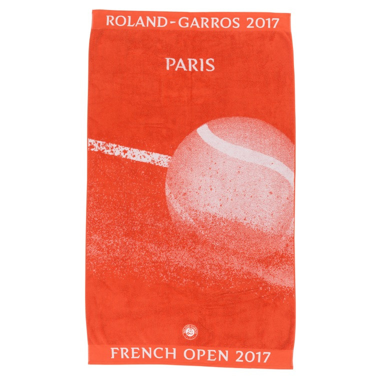 serviette de plage roland garros 2017 terre battue carre blanc. Black Bedroom Furniture Sets. Home Design Ideas