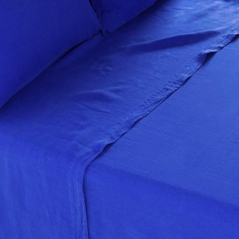 Drap de lit en lin lavé Songe cobalt