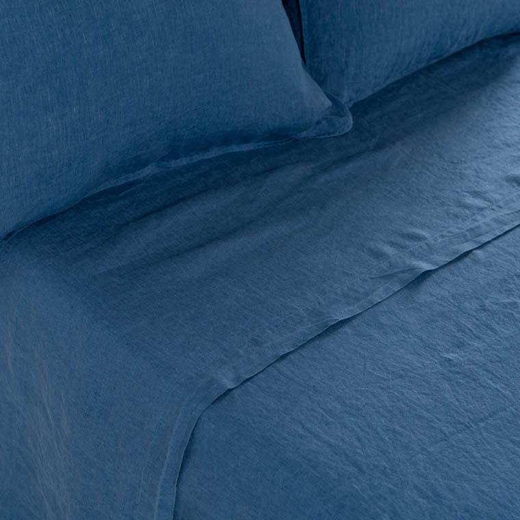 Drap de lit en lin lavé Songe encre