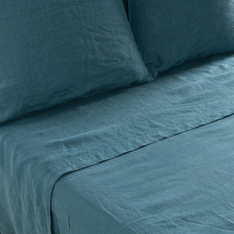 Drap de lit en lin lavé Songe feuille