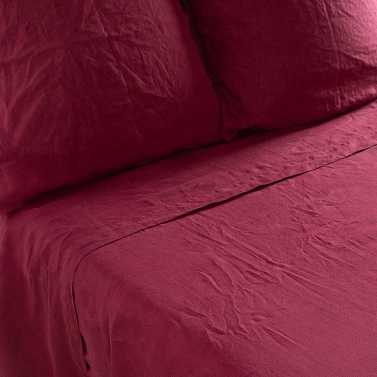 Drap de lit en lin lavé Songe griotte