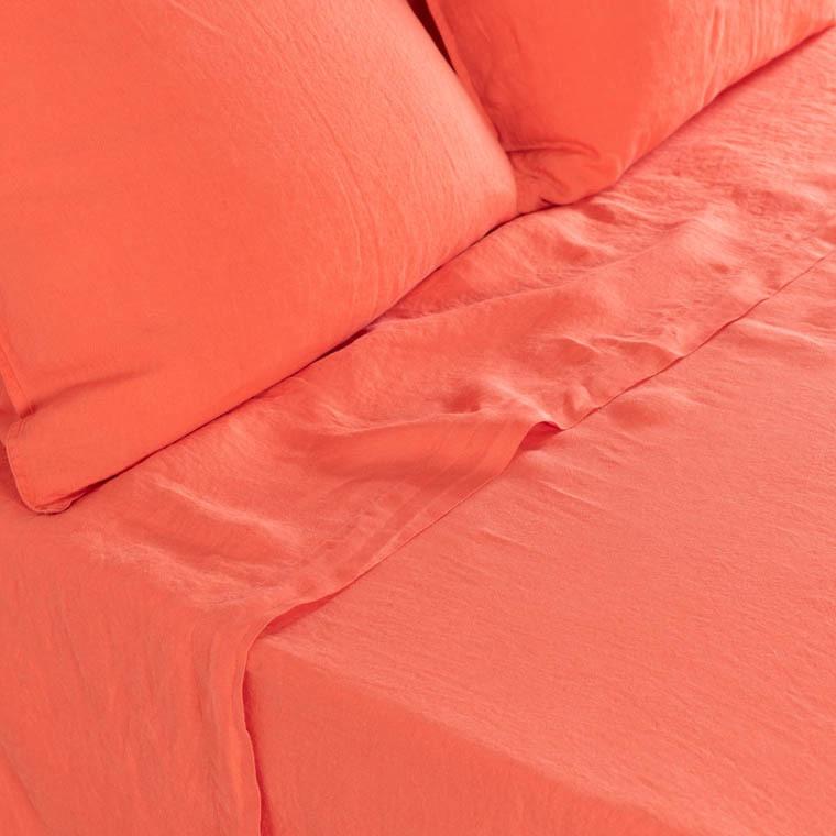 Drap de lit en lin lavé Songe papaye
