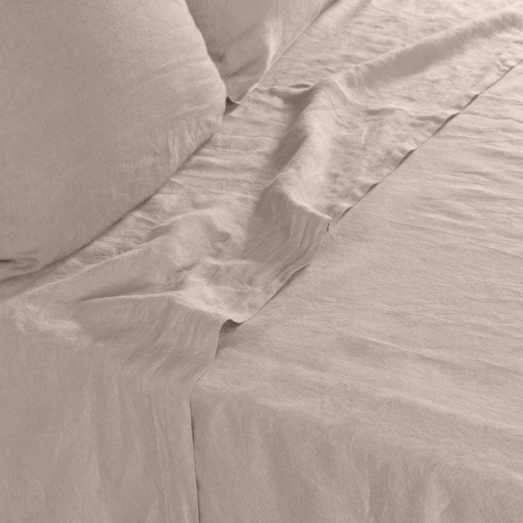 Drap de lit en lin lavé Songe taupe