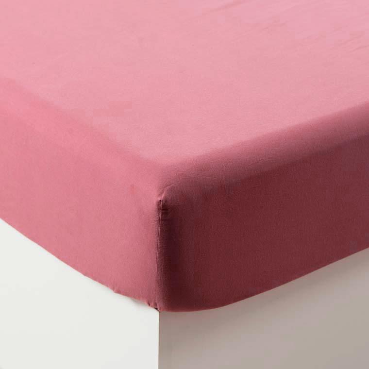 Drap housse en coton lavé Songe bois de rose