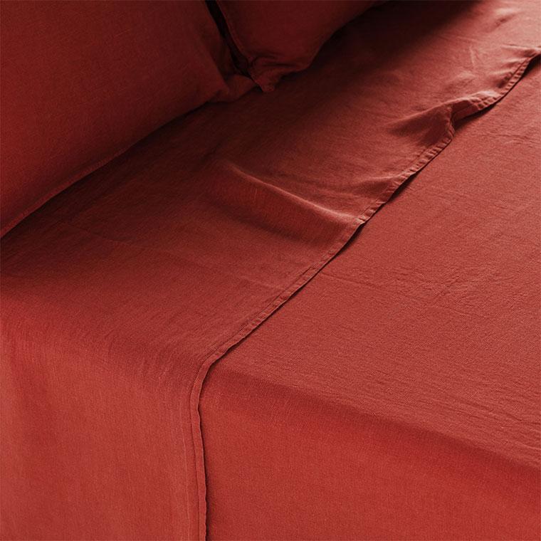 Drap de lit en lin lavé Songe sienne