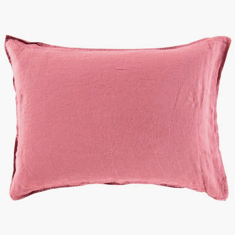 Taie d'oreiller rectangulaire en lin lavé Songe bois de rose