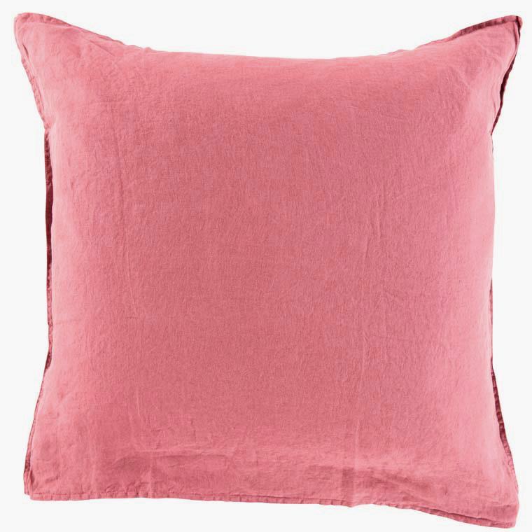 Taie d'oreiller carrée en lin lavé Songe bois de rose