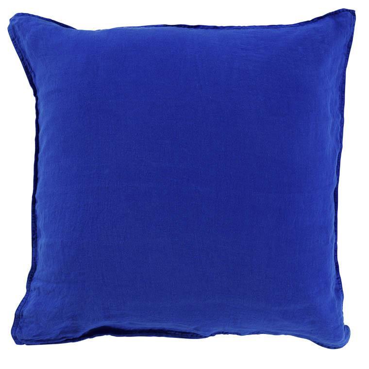 Taie d'oreiller carrée en lin lavé Songe cobalt