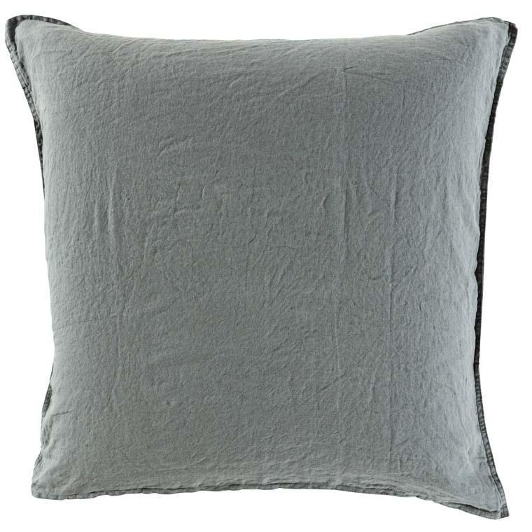 Taie d'oreiller carré en lin lavé Songe kaki cendré