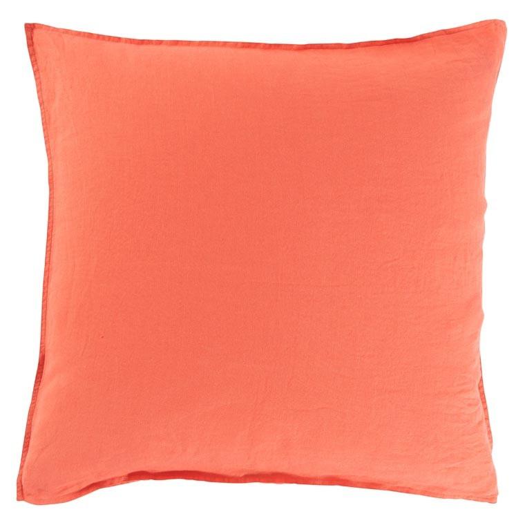 Taie d'oreiller carré en lin lavé Songe papaye