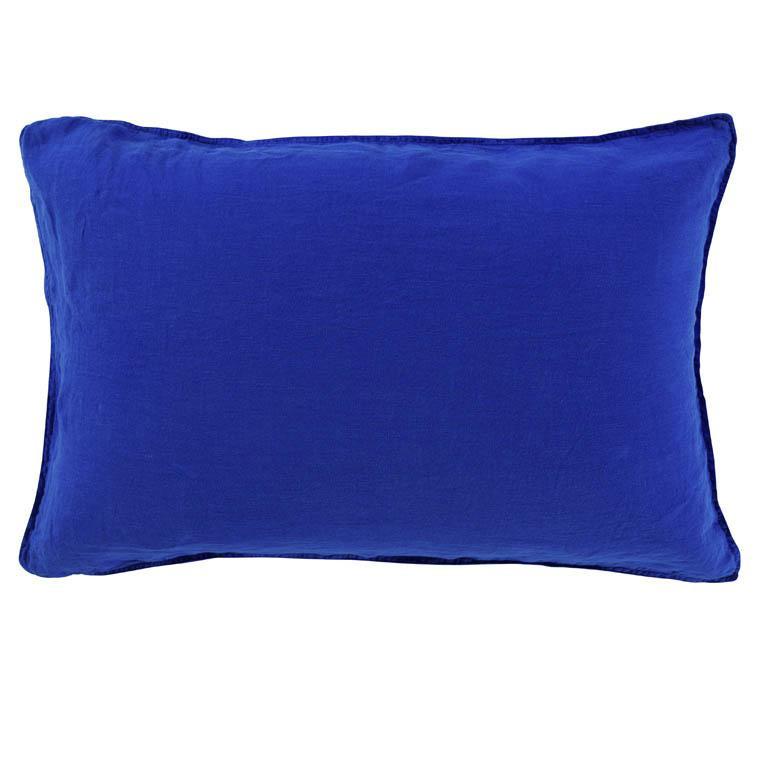 Taie d'oreiller rectangulaire en lin lavé Songe cobalt