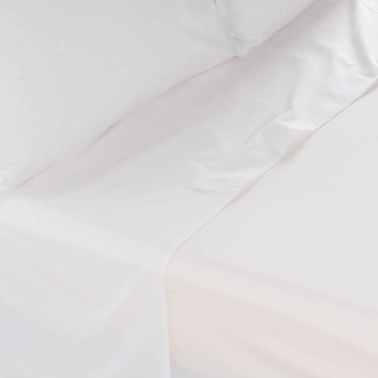 Drap de lit en pur coton lavé biologique Souffle blanc