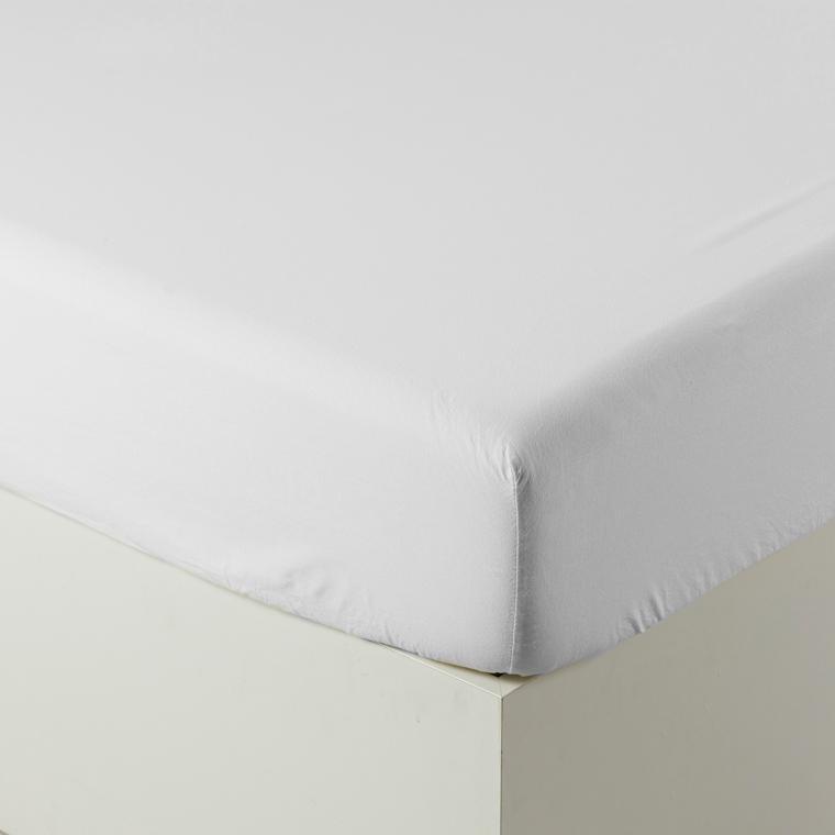 Drap housse en pur coton lavé biologique Souffle blanc