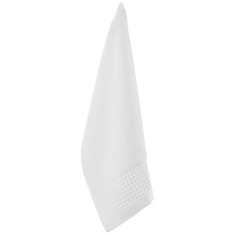Serviette invité bouclette de coton biologique Source blanc