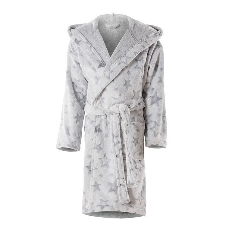 Robe De Chambre Enfant Polaire Etoile Stars Gris Carre Blanc
