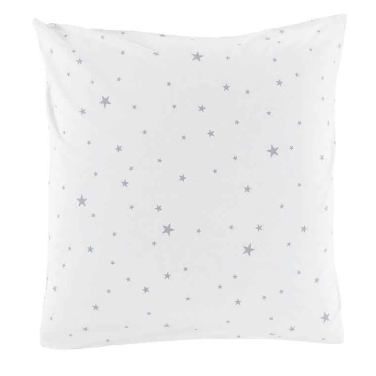 Taie d'oreiller carré coton lavé étoile Stars blanc