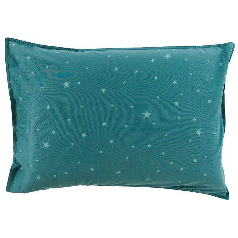 Taie d'oreiller rectangulaire coton lavé étoile Stars céladon