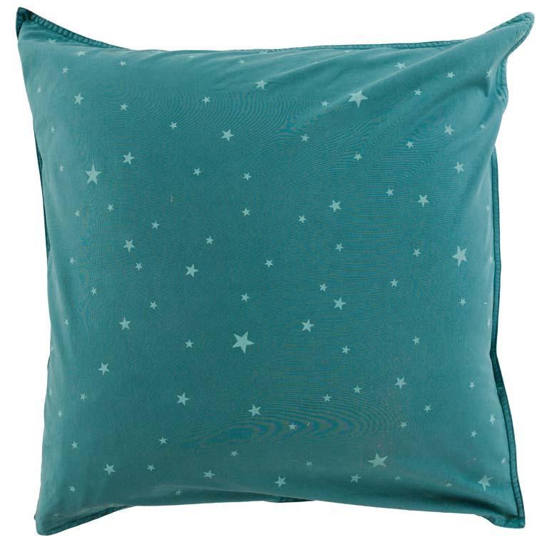 Taie d'oreiller carré coton lavé étoile Stars céladon