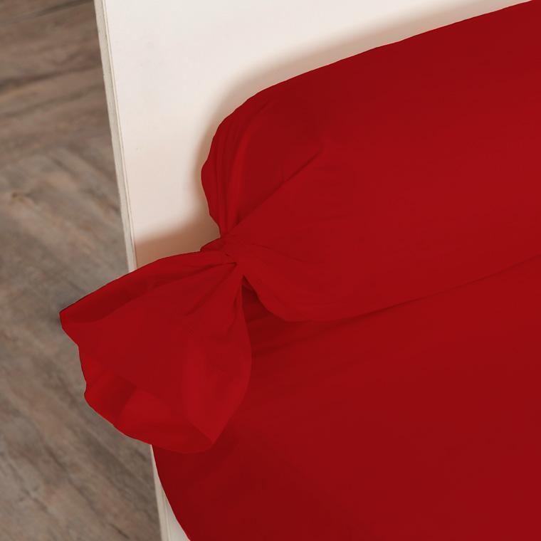 Taie de traversin percale de coton Neo rouge