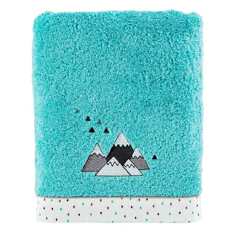 Drap de bain coton brodé montagne Timba céladon