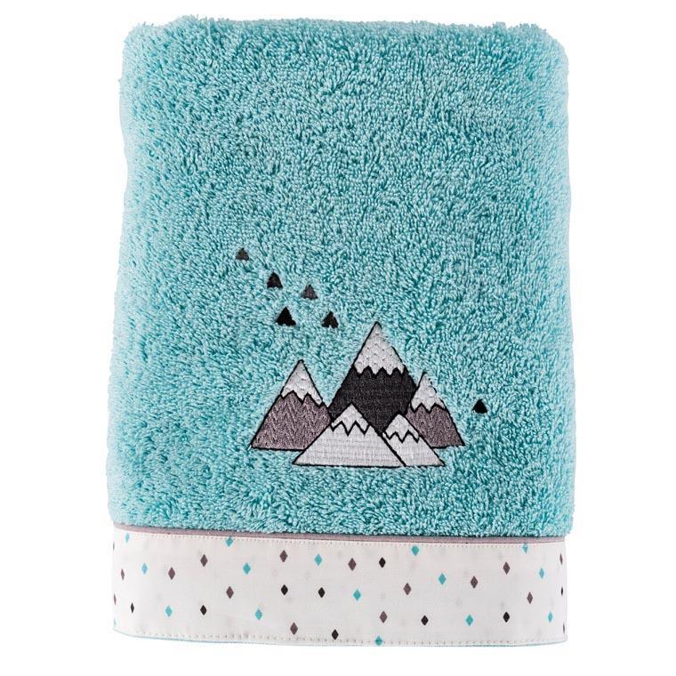 Serviette de toilette coton brodée montagne Timba céladon