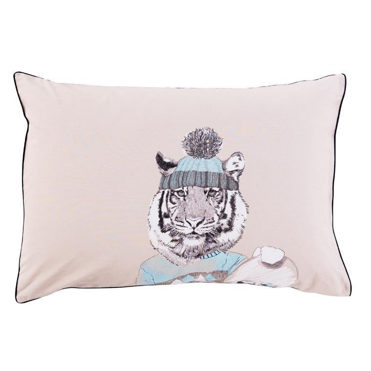 Taie d'oreiller rectangulaire coton imprimé tigre Timba