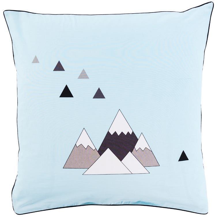Taie d'oreiller carrée coton imprimé montagne Timba