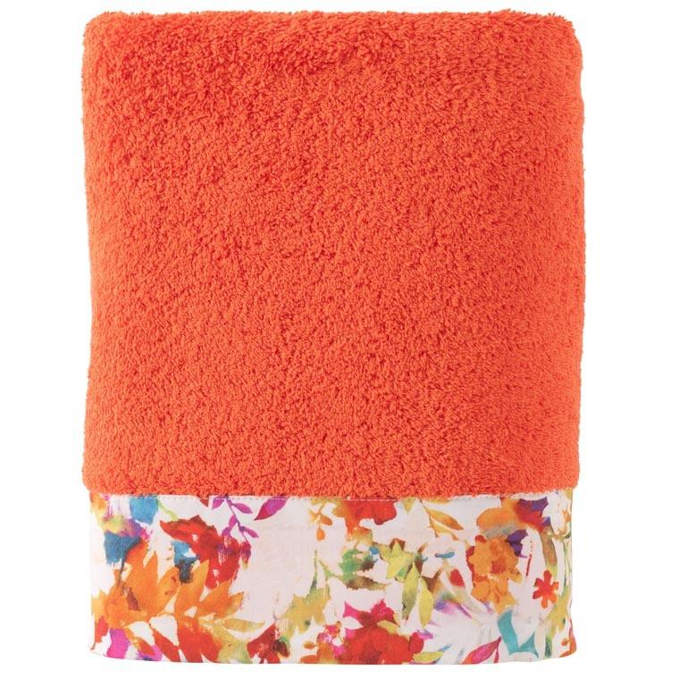 Drap de bain coton fleur multicolore VAENA safran