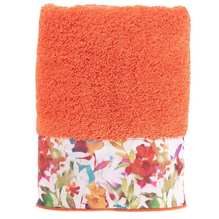 Serviette de toilette coton fleur multicolore Vaena safran