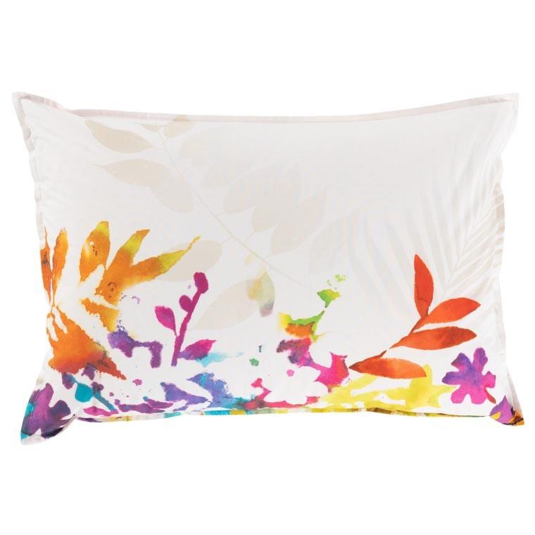 Taie d'oreiller rectangulaire percale de coton fleur multicolore VAENA