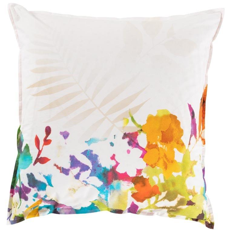 Taie d'oreiller carré percale de coton fleur multicolore VAENA