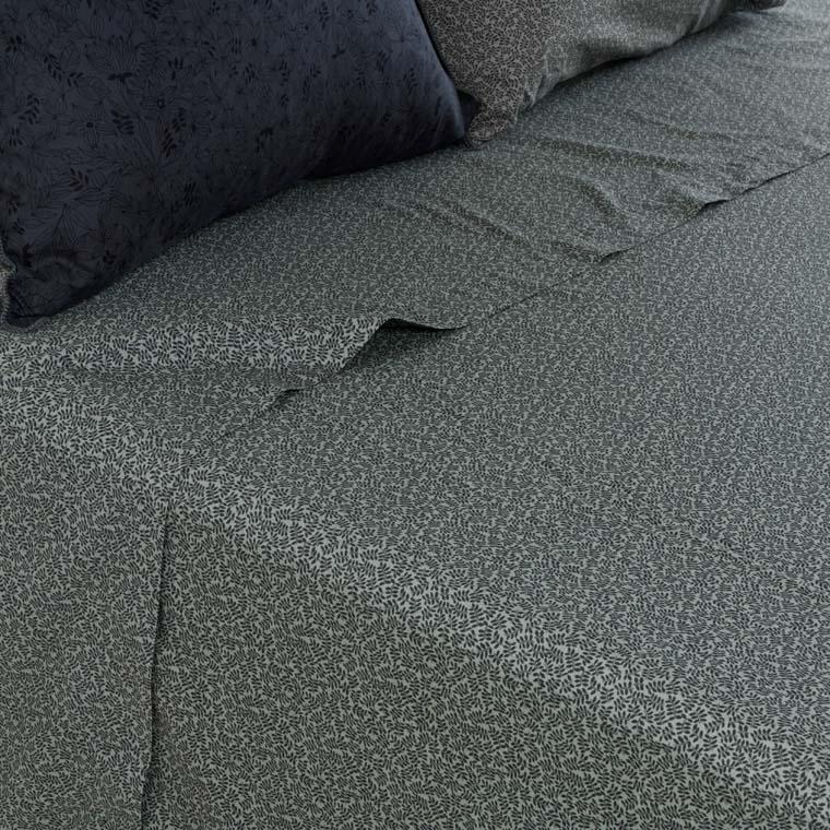 Drap de lit coton lavé imprimé bohème végétal Vegetown