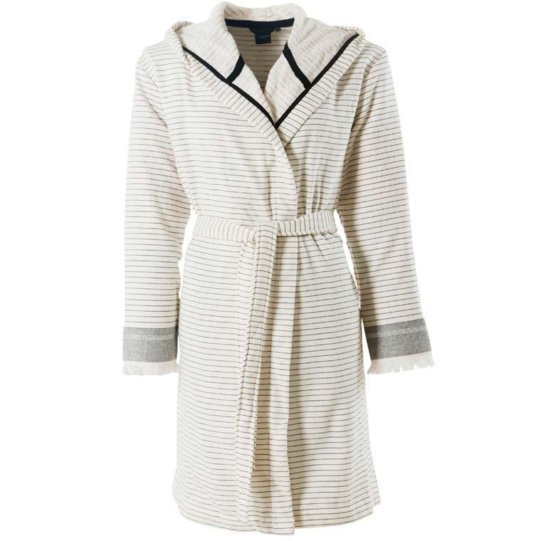 Peignoir femme coton fouta à capuche fines rayures Vegetown ivoire