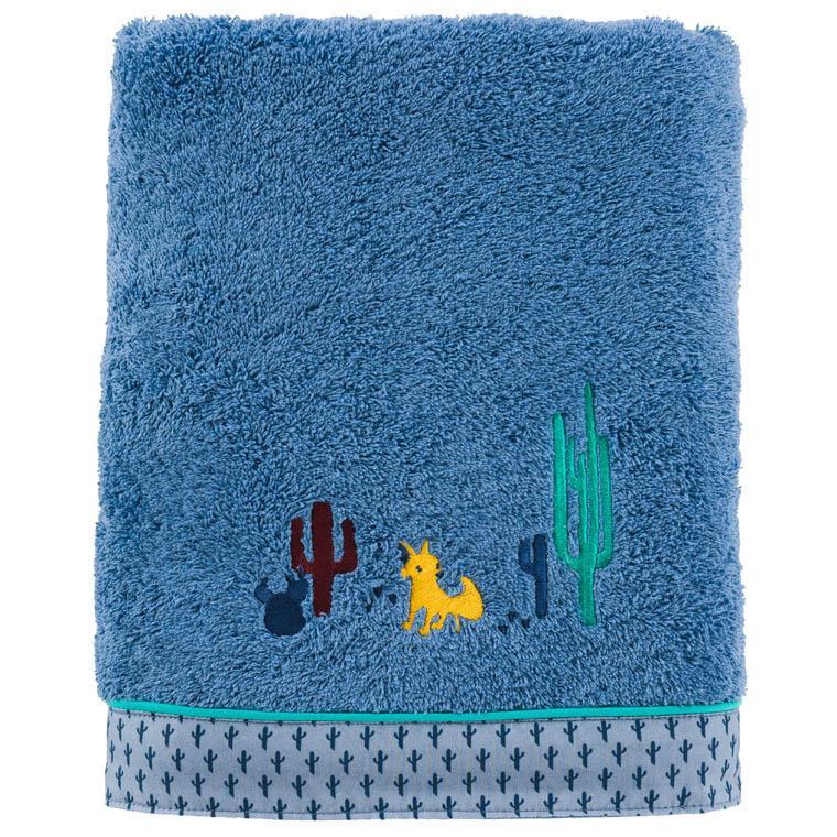 Drap de bain bouclette de coton brodé cactus West indigo