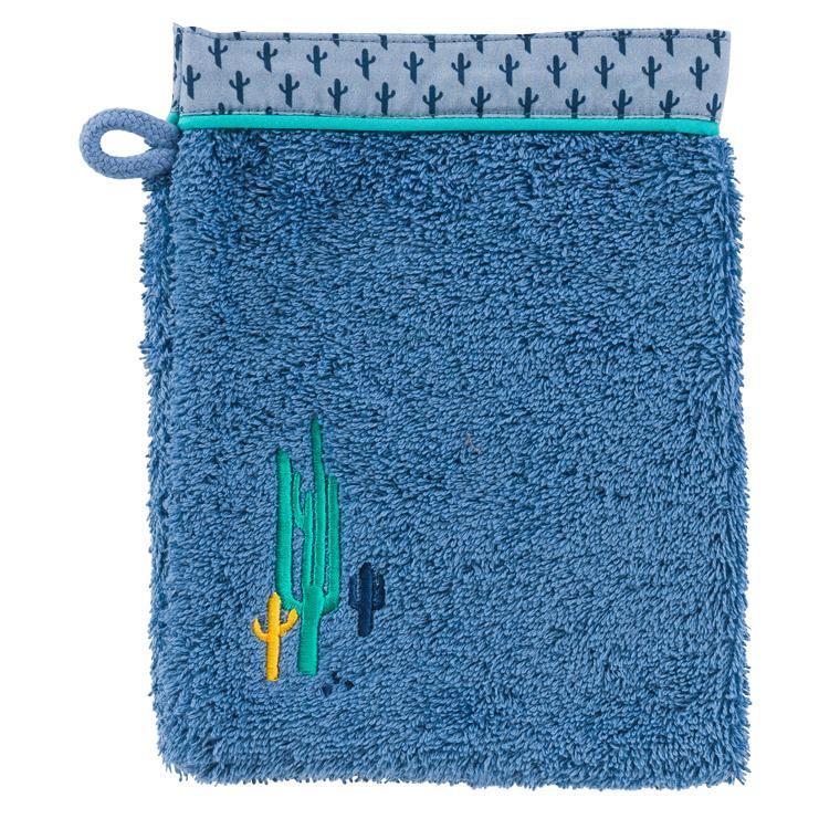 Gant de toilette bouclette de coton brodé cactus West indigo