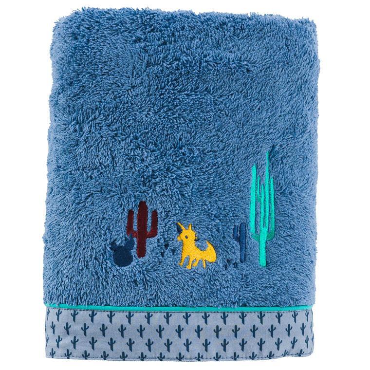 Serviette de toilette bouclette de coton brodée cactus West indigo