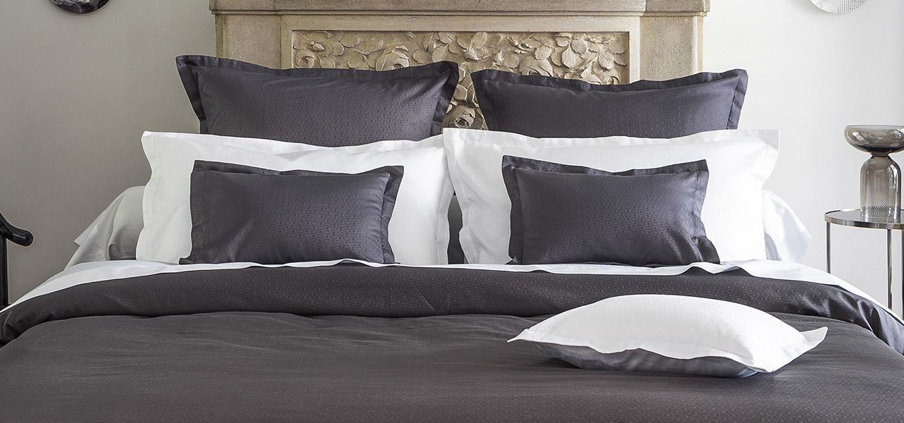 Parure de lit en satin de coton Maestro Ardoise